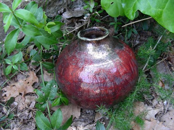 Immagine di un vaso raku sangue in esterno
