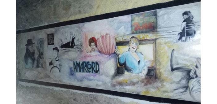 Immagine di un murales dedicato ad Amarcord a Boscomare
