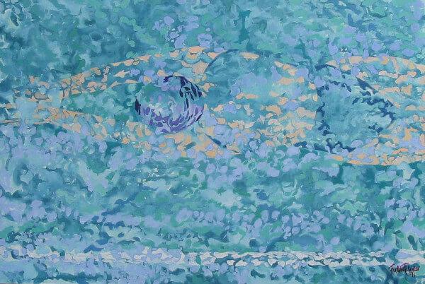 Immagine di una donna che nuota, creazione in ceramica di Fulvio Filidei