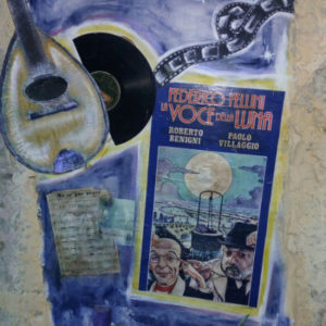 Immagine della locandina della Voce della Luna di Fellini realizzata da Giacomo Fossati