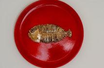 Immagine di un piatto in ceramica di Silvestro Pampolini, Quel che resta di un pesce, nobiltà di una lisca