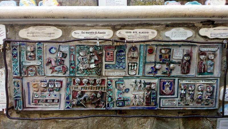 Immagine della leggenda di Adelasia e Aleramo sul Muretto di Alassio