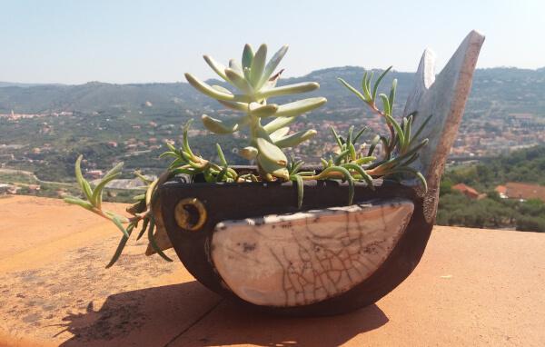 Immagine di una vaso in ceramica artigianale raku con fiori e piante