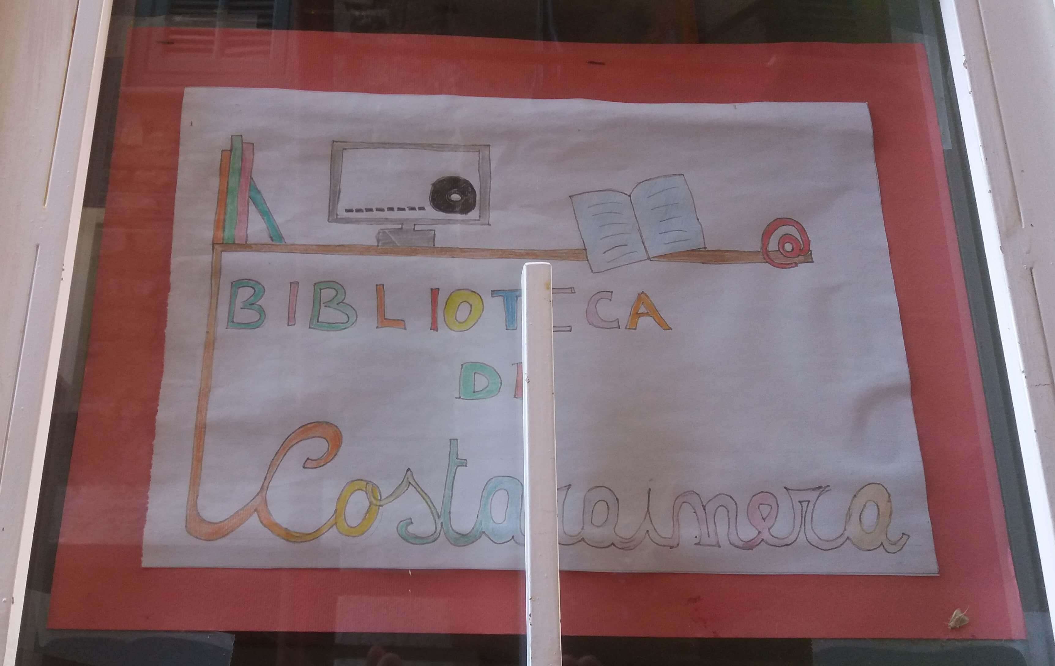 Immagine del cartello d'ingresso della biblioteca di Costarainere